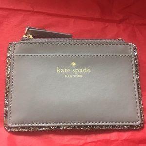 NWT taupe Kate Spade glitter edged card holder
